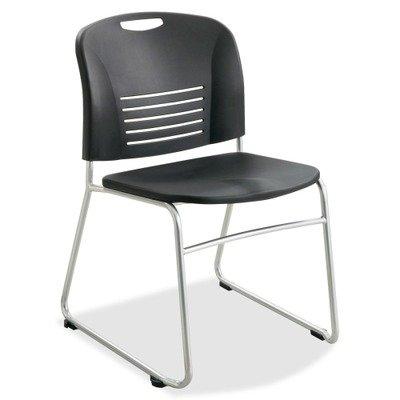 ((3 Pack Value Bundle) SAF4292BL Vy Series Stack Chairs, Plastic Back/Seat, Sled Base, Black,)