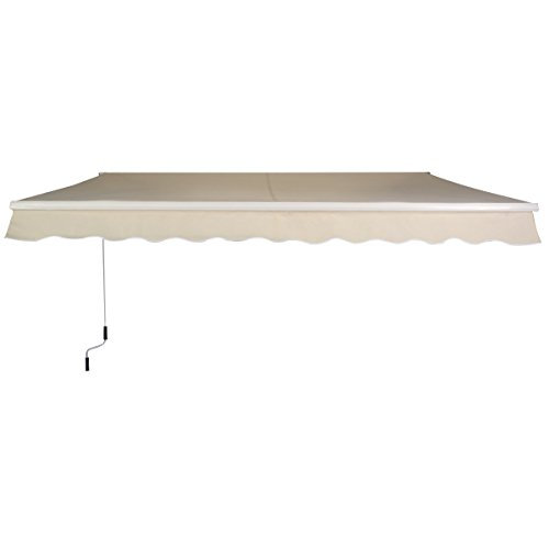 Goplus® Manual Patio 6.4'×5' Retractable Deck Awning Sunshade Shelter Canopy Outdoor New (Beige)