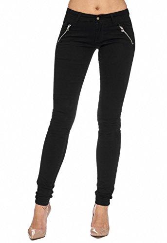 Arizonashopping - Hosen Pantaloni In Tessuto Da Donna Tube Treggings Skinny Fit D1943 Nero