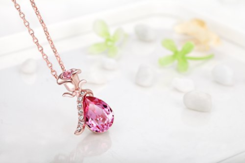 Amazon fappac flower pendant necklace enriched with swarovski amazon fappac flower pendant necklace enriched with swarovski crystals 18k rose gold plated pink jewelry audiocablefo