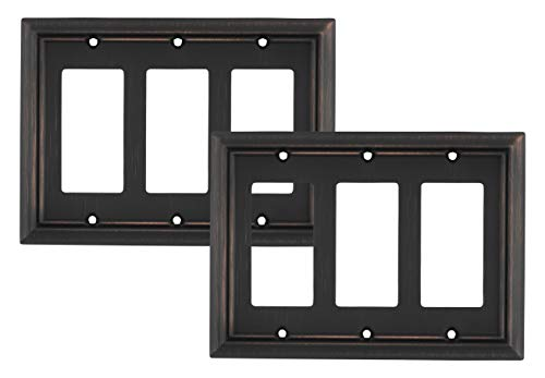 Pack of 2 Wall Plate Outlet Switch Covers by SleekLighting   Decorative oil rubbed bronze   Variety of Styles: Decorator/Duplex/Toggle / & Combo   Size: 3 Gang Decorator (Gang Decorator)