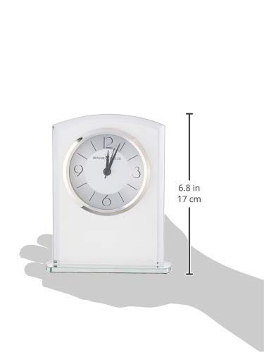 Howard Miller Glamour Table Clock 645-771 – Modern Glass with Quartz Alarm Movement - TABLE CLOCK: The Glamour Table Clock is a frosted glass clock with a gently curved top, mirrored beveled edges, and mirrored glass base to compliment your home decor. The clock's quartz movement makes a soft ticking noise without the use of chimes for a quieter environment. DURABLE: This indoor modern clock is created to last. It has a sturdy metal frame to relieve stress in a busy household. Place it in your kitchen, office, bathroom, bedroom, living room, and more. HIGH QUALITY: The design is a home essential. Easily tell time with a satin silver center and brushed silver outer ring with black Arabic numerals, hour markers, black hands, silver second and alarm hands, glass crystal, and a polished silver-tone bezel to stand out over a two-tone dial. - clocks, bedroom-decor, bedroom - 31uLR 00lPL -
