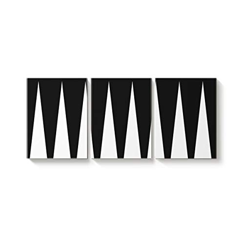 Arts Language 3 Piece Canvas Wall Art Painting for Office Bedroom Living Room Home Decor,Simple Triangle Prints Black and White Pictures Modern Artworks,12 x 16in x 3 Panels