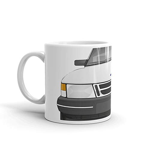 Saab 900 - Ice White Mug 11 Oz White Ceramic ()