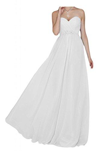 Toskana novia schlicht Noche de forma de corazón para ropa larga gasa transparente dama de honor Party Ball Prom Weiß