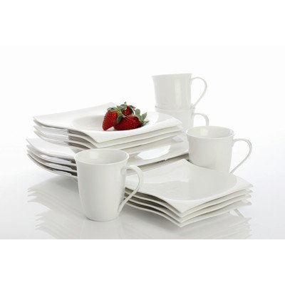 Maxwell and Williams Basics Motion 16-Piece Dinner Set, White by Maxwell and Williams Designer Homewares