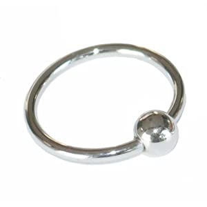 Cock Ring Penis Ring Jewelry with Rolling Ball Glans Ring 1 inch or 1.25 inch 316 Surgical Stainless Steel (Large)