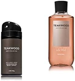 Bath & Body Works - Teakwood - Deodorizing Body Spray and 2 in 1 Hair and Body Wash - Gift Set