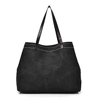 Bloomerang New Women's Canvas Shoulder Bag Pure color Contracted Large Capacity Handbag Lady's Tote Bags FB08 color Black