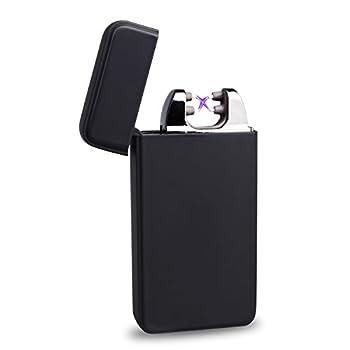 World Backyard Dual Arc Lighter USB Rechargeable Windproof Cigarettes Electric Lighter Matte Black