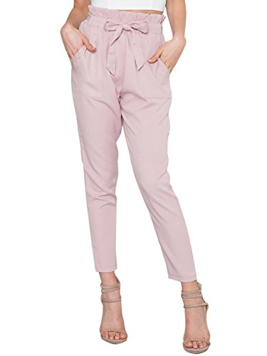 BerryGo Women's Casual Loose High Waist Stretchy Skinny Slim Long Pants (Pink,M)