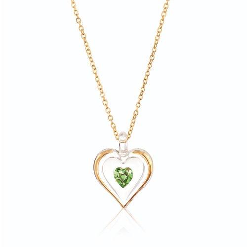 August Gold Trim Swarovski Birthstone Heart 18 Inch Necklace