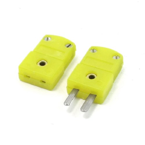 uxcell Yellow Plastic Shell K Type Thermocouple Plug Socket Connector Set