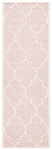 "Safavieh Cambridge Collection CAM134M Handmade Moroccan Wool Runner, 2'6"" x 6', Light Pink/Ivory"