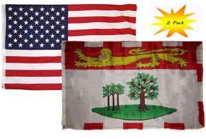 - LuxMart 3x5 3'x5' Wholesale Set (2 Pack) USA American & Prince Edward Island Flag Banner
