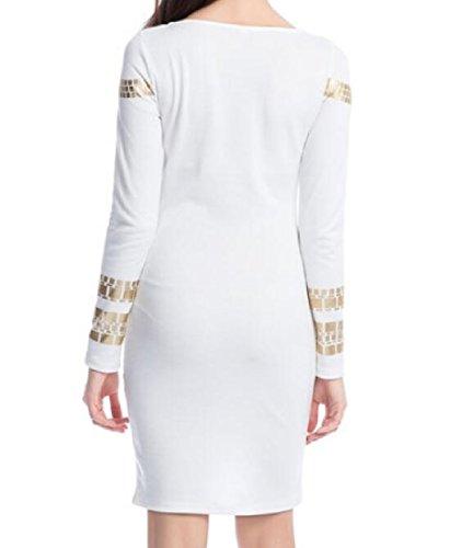 Confortables À Long Automne Manches Club Femmes Sexy Partie Collants Moulantes Robe Blanche