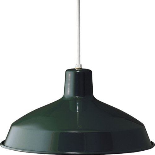 Progress Lighting P5094-45 1-Light Cord-Hung Pendant with White Interlined Shade, Dark Green (1 Light Cord Hung Pendant)