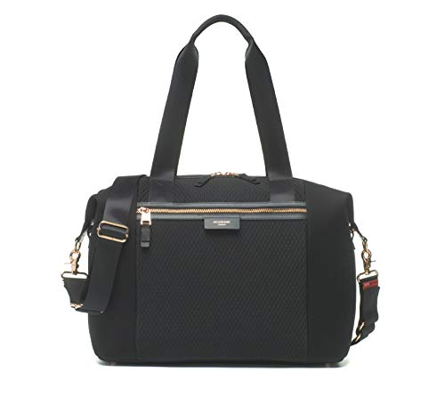 Stevie Luxe Scuba Black Modern Style Baby Diaper Bag by Storksak | Water-Resistant, Large Capacity Multi-Functional Bag with Smooth Leather Trim and Rose Gold Hardware | Shoulder and Stroller Straps (Stevie Diaper Bag)