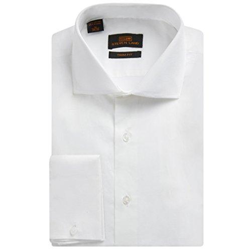 Steven Land Men's TA214 Trim Fit French Cuff Cotton Solid Sateen Dress Shirt - White - 15 2-3 (Trim Shirt Dress)
