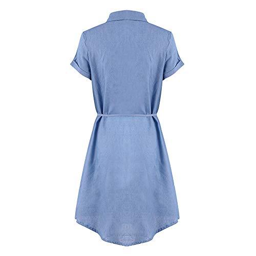 Quealent Women's Plus Size Long Short Sleeve Dress Casual Loose Pocket T-Shirt Dress Sky Blue by Quealent (Image #4)