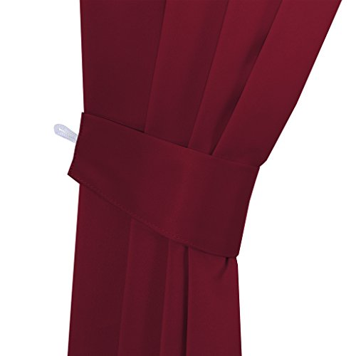 H.VERSAILTEX Blackout Window Treatment Thermal Insulated Curtains Drapes for Bedroom Solid Grommet Blackout Curtains for Living Room(2 Panels, Bonus 2 Curtain Valances), Burgundy - bedroomdesign.us