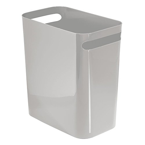 mDesign Slim Rectangular Small Trash Can Wastebasket, Garbage Container Bin with Handles for Bathrooms, Kitchens, Home Offices, Dorms, Kids Rooms — 12 inch high, Shatter-Resistant Plastic, Gray by mDesign