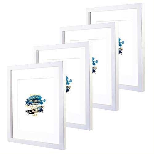 CoFun Art 11x14 Black and White Picture Frames with 8x10 Mat for Wall and Table Stand Photo Artwork Display Set of 4 Pack (White)