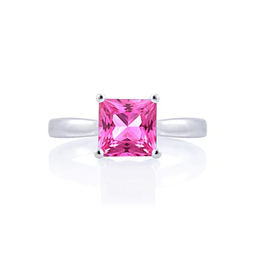 Diamond Scotch 2 Ct Princess Cut Brilliant Simulated Pink Sapphire Solitaire Wedding Engagement Ring 14k Gold Plated Size-7