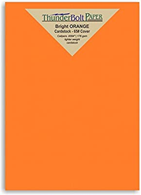 50 Bright Orange Color Cover/Card Paper Sheets - 5 X 7 Inches Photo|Card|Frame Size - 65# (65 lb/pound) Light Weight Cardstock - Quality Printable Smooth Paper Surface for Bright Colorful Results