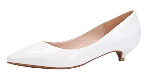CAMSSOO Women's Classic Slip on Pointed Toe Low Kitten Heel Wedding Dress Pumps Shoes White Patent Leather 10.5 M US (Heels White Kitten)