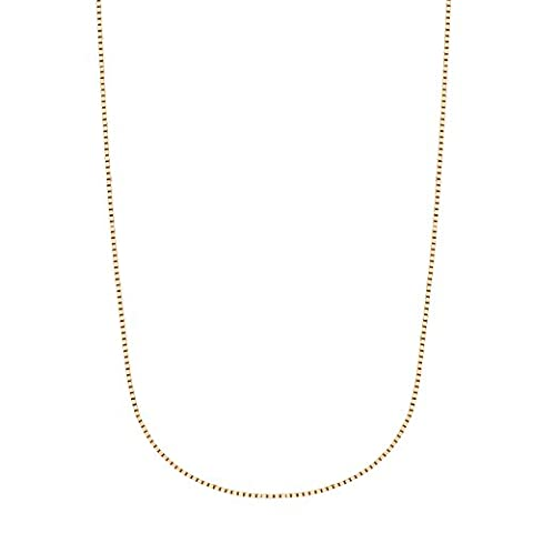 14k Solid Yellow Gold Box Chain Necklace 0.6 Mm 16 Inches Lobster Lock (14k Yellow Gold Box Chain 16 Inch)