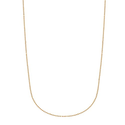 Gold Solid Chain Box Necklace (14k Solid Yellow Gold Box Chain Necklace 0.6 Mm 16 Inches Lobster Lock)