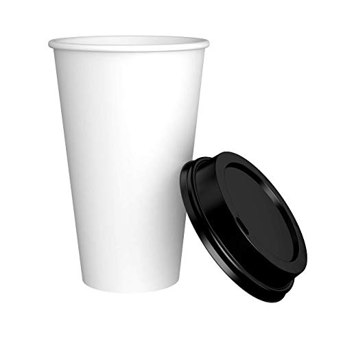 Amazon Brand - Solimo 16oz Paper Hot Cup with Lid, 150 Count