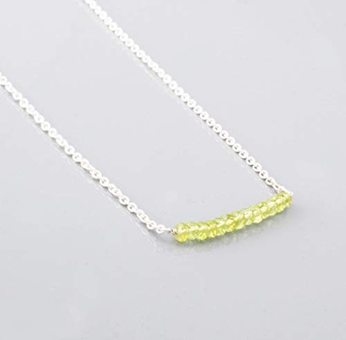 (Dainty Green Peridot Bar Necklace with Sterling Silver Chain 16
