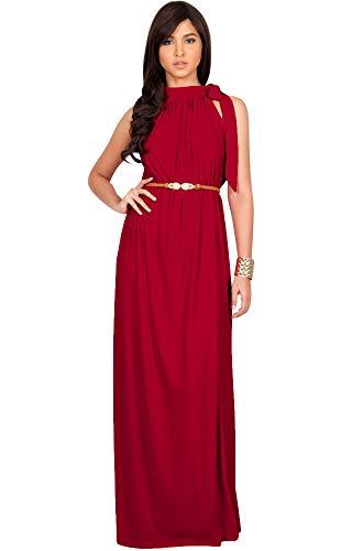 KOH KOH Womens Long Halter Sleeveless Sexy Summer Belted Evening Maxi Dress, Red L 12-14