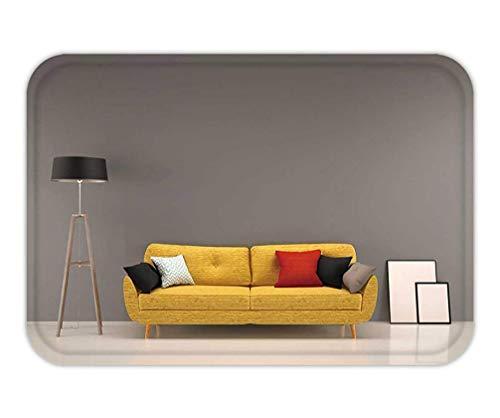 Usvbzd Doormat Living Room Gray Wall with Yellow Sofa Interior Background