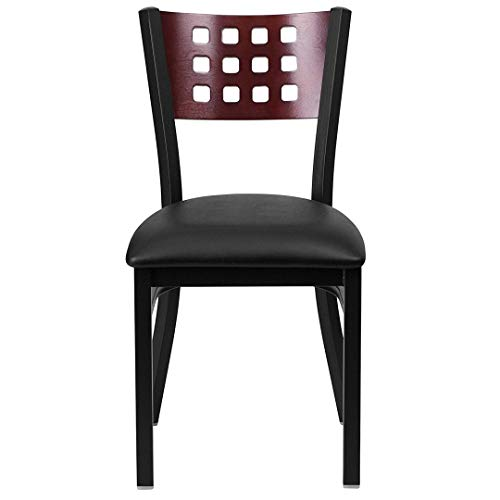 Modern Style Metal Dining Chairs Bar Restaurant Commercial Seats Mahogany Wood Cutout Back Design Black Powder Coated Frame Home Office Furniture - (1) Black Vinyl Seat #2206 by KLS14 (Image #3)