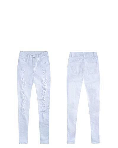 Kunliyin A Skinny Jegging Strappati Bianchi Pantaloni White Casual Alta Vita Jeans 1qTg1