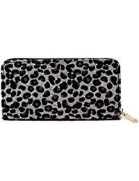(Me Plus Women Faux Fur Animal Print Furry Leopard Zebra Wallet Zipper Closure Card Slots Zippered Coin Pouch (Leopard-Grey))
