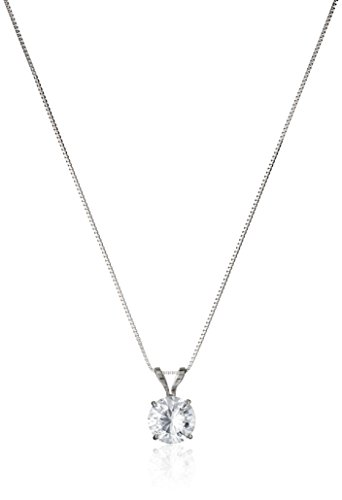 14k White Gold 6.5mm Round Cubic Zirconia Solitaire Pendant Necklace (1 carat, Diamond Equivalent), 18