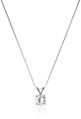 14k White Gold 6.5mm Round Cubic Zirconia Solitaire Pendant Necklace (1 carat, Diamond Equivalent), 18