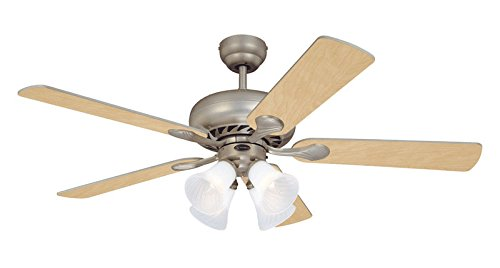 - Westinghouse 78077 Swirl Four-Light 52-Inch Five Blade Ceiling Fan, Brushed Pewter with Frosted Swirl Shades
