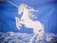 Unicorn Blue Flag 3'x5' Banner