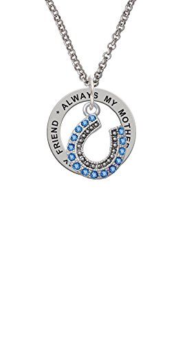 Delight Jewelry Beaded Blue Crystal Horseshoe with Good Luck - Always My Mother Affirmation Ring Necklace