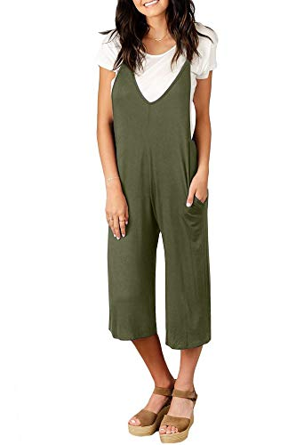 Spadehill Women's Pocket Loose Wide Leg Romper Sleeveless Overalls Casual Strap Long Pants Jumpsuit Forest Green -