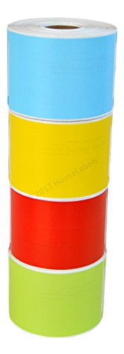 Ships Fast 4 Rolls; 1 Roll of Each Color, 300 Labels per Roll of DYMO-Compatible 30256 RED,Yellow, Blue and Green Large Shipping Labels (2-5/16