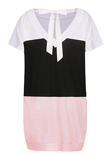 T Donne Coulisse Delle shirt Rosa Di Colore Backless Manica Con Vestito Domple Corta Blocco xw06qn