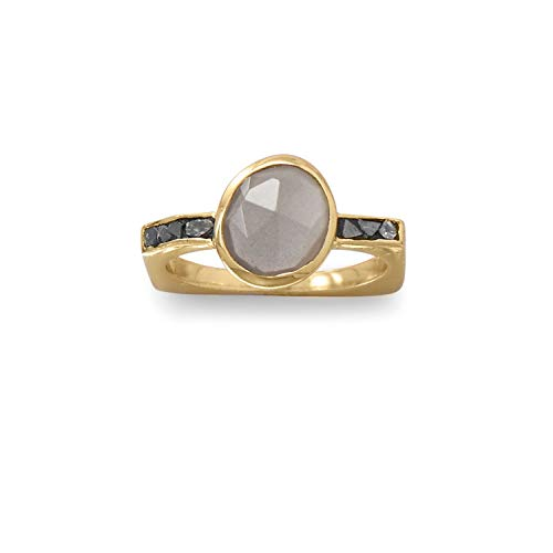 Bunnyberry 14 Karat Gold Plated Grey Moonstone and Diamond Chips Ring