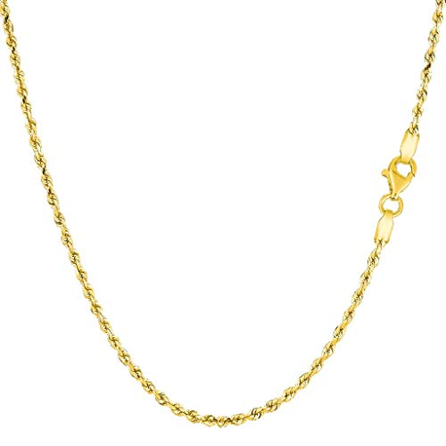 14K Yellow or White Gold 2.00mm Shiny Hollow Rope Chain Necklace for Pendants and Charms with Lobster-Claw Clasp (16