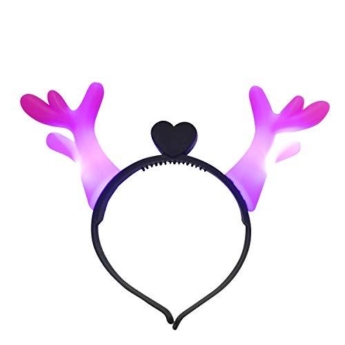 Mammoth Sales Light Up LED Reindeer Antlers Headband Costume (Pink)]()